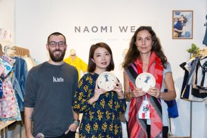 Naomi Wear receiving the Pirouette One To Watch Fashion Award at Playtime New York, winter 2019